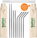 BYE BYE PLASTIC Stainless Steel Metal Straws Reusable