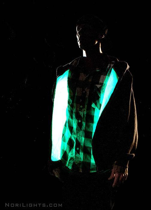 Nori Lights Illuminated Hoodie - Internal Glow - Super Bright Glow in the Dark Hooded Sweatshirt - Nori Lights