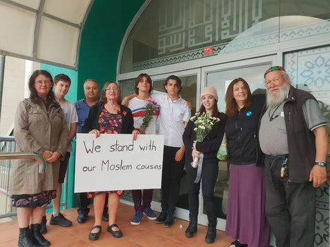 Group from the synagogue, outside the Wellington Mosque, the morning after March 15