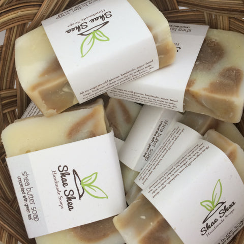 Unscented Shea Butter Soap with Green Tea Powder