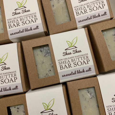 Black Salt Unscented Shea Butter Soap