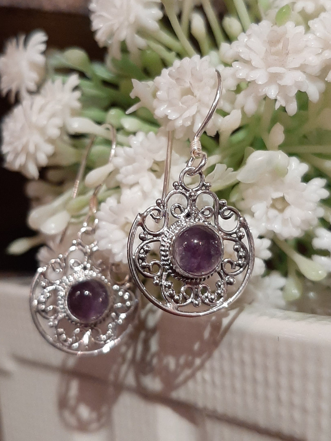 Filigree Dangle Earrings with Amethyst