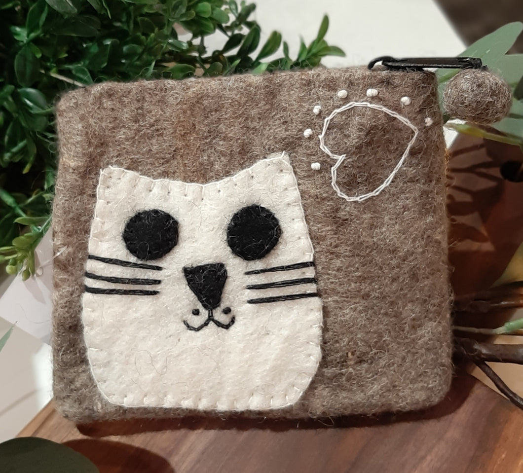 Brown Cat Felt Purse