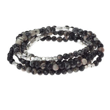Load image into Gallery viewer, Black Network Agate Wrap Bracelet