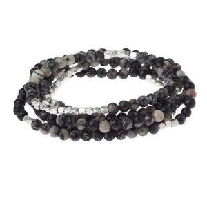 Black Network Agate Wrap Bracelet