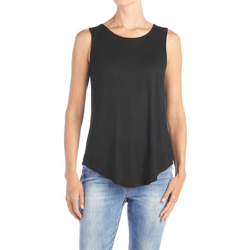 Coco + Carmen Erin Pleat Back Tank Black
