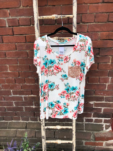 Floral Top with Sparkle Pocket