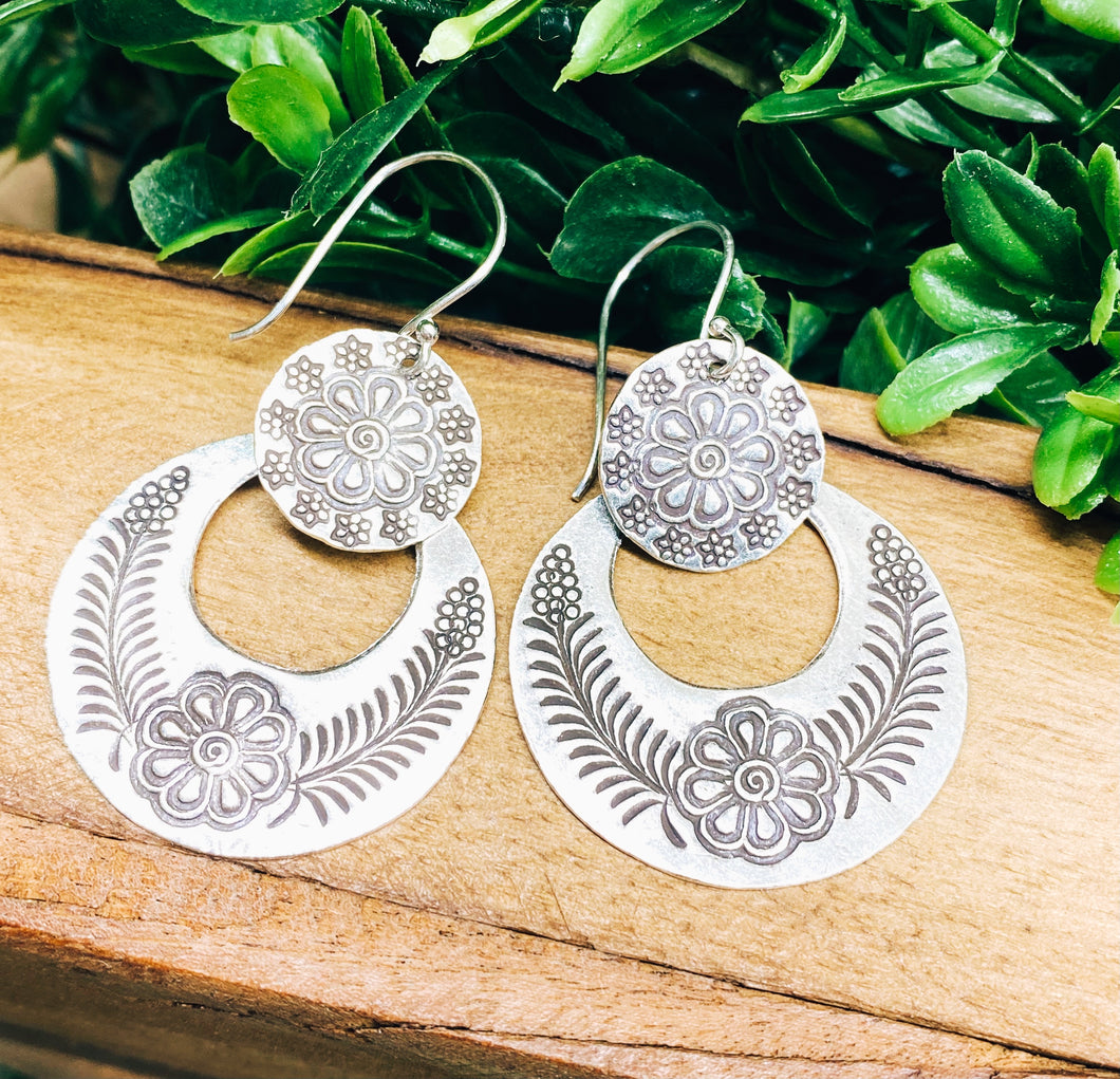 Sterling Silver: Large Floral Dangle Earrings