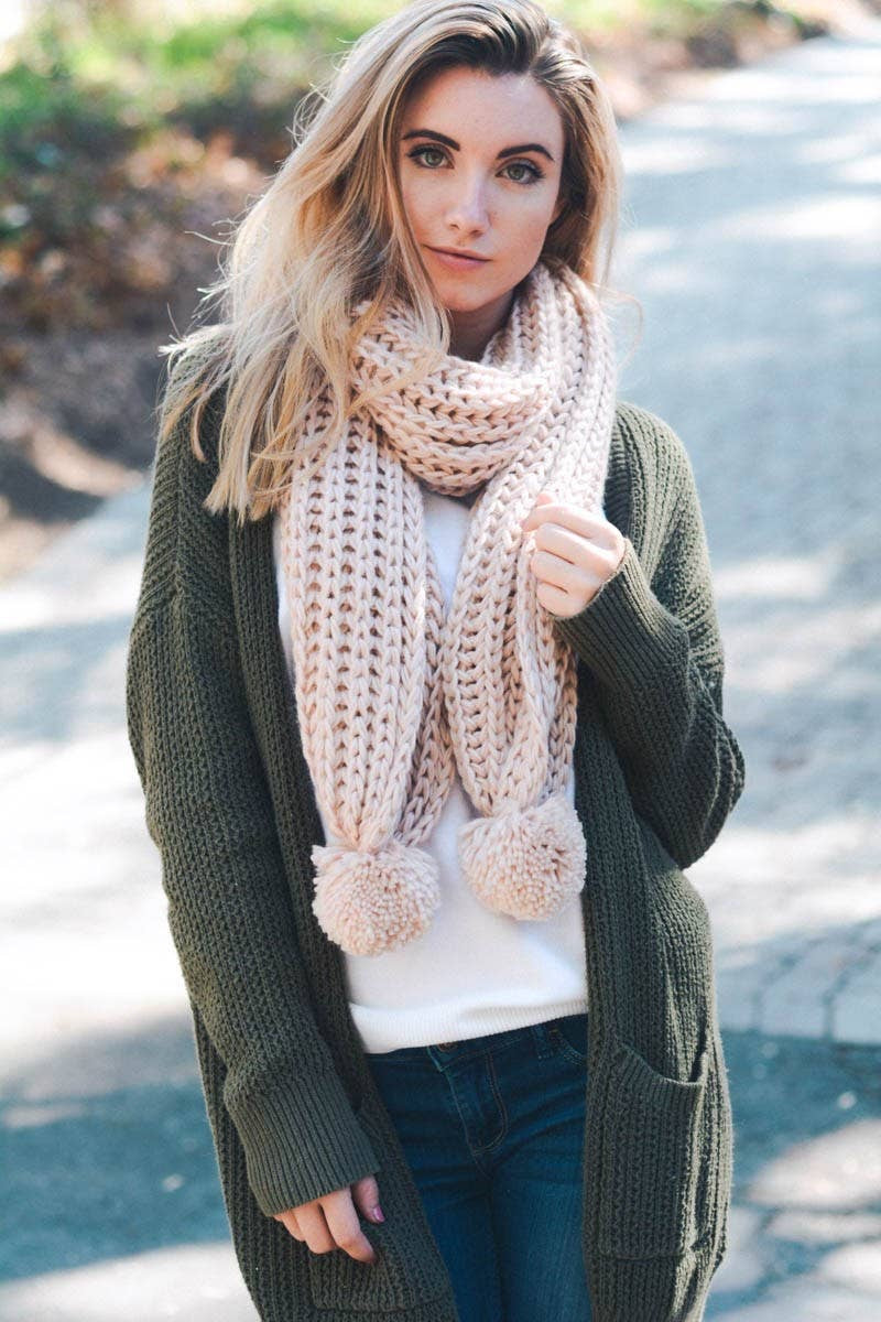 Dusty Pink Knit Scarf