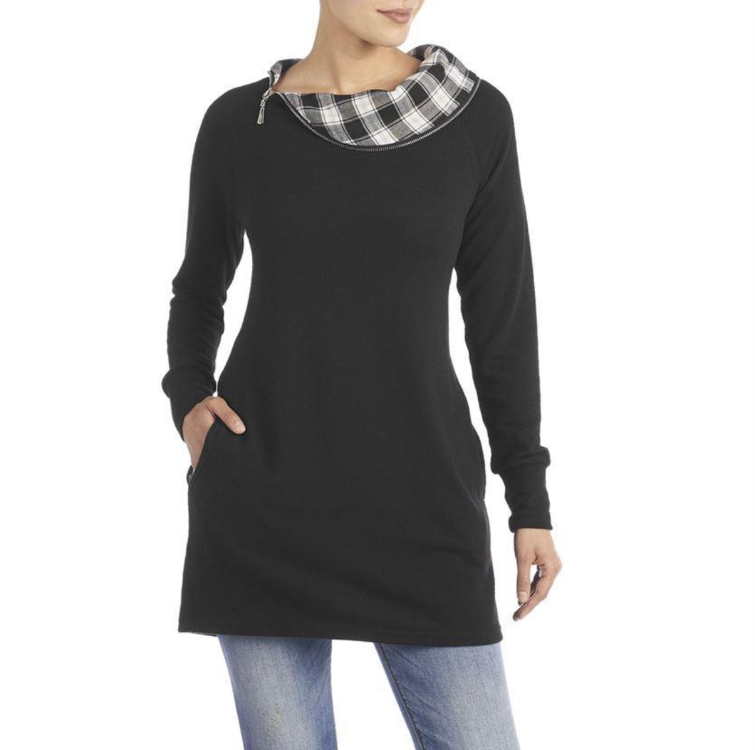 Tunic Black with Plaid