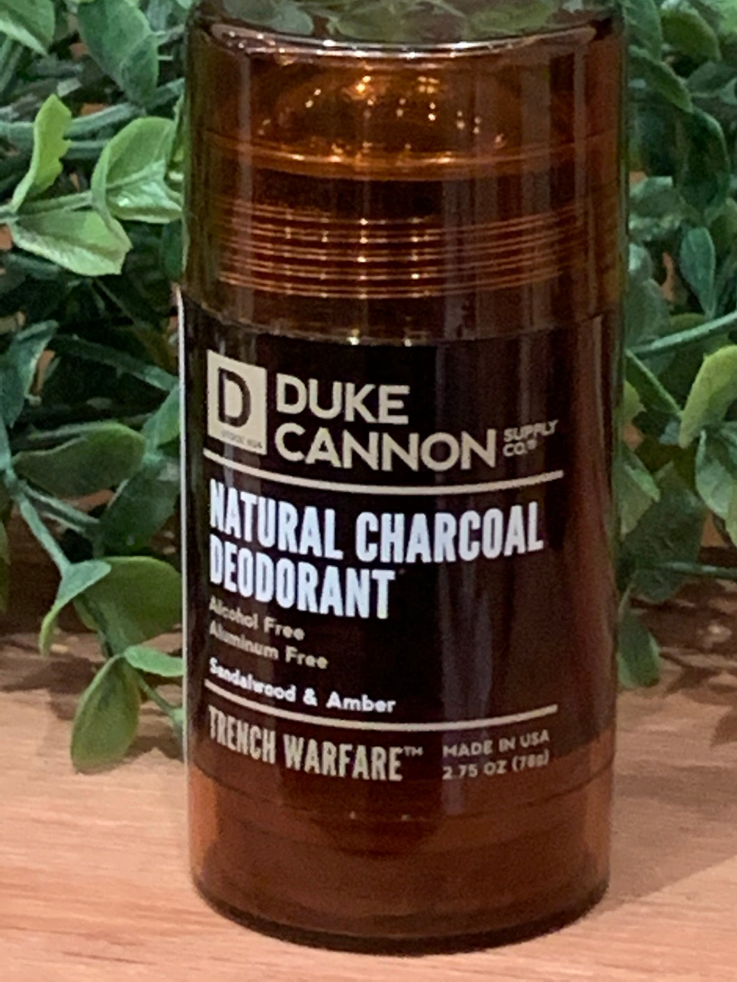 Natural Charcoal Men's Deodorant, Trench Warfare, Sandalwood & Amber
