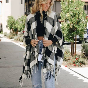 Buffalo Plaid Tassel Ruana