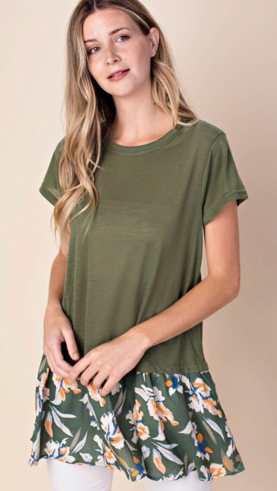 Green Floral Flowy Top