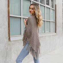 Load image into Gallery viewer, Button Neck Fringe Poncho