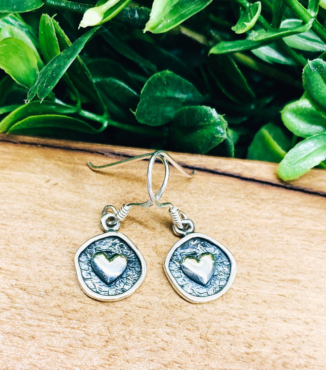 Sterling Silver: Heart Stamped Earrings