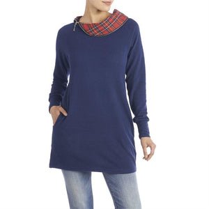 Tunic Navy with Plaid