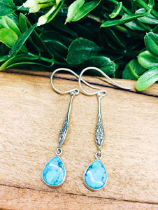 Sterling Silver: Turquoise Teardrop Earrings