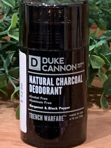 Natural Charcoal Men's Deodorant, Trench Warfare, Bergamot & Black Pepper
