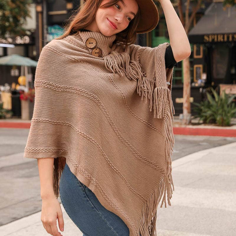 Button Neck Fringe Poncho
