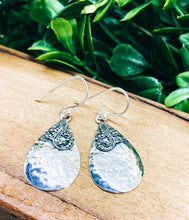 Load image into Gallery viewer, Sterling Silver: Hammered Teardrop Earrings
