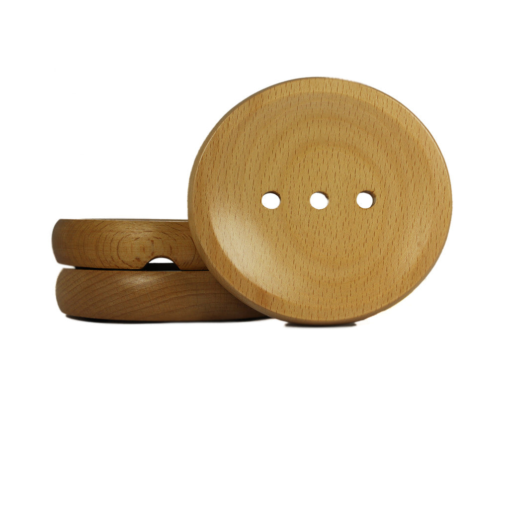 Round Wooden Soap Dish
