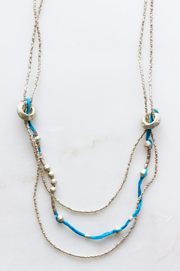 long aqua + silver necklace