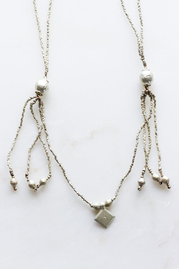 drop cord + glove silver necklace