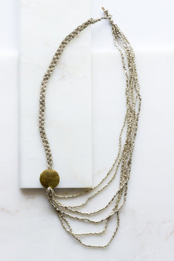 braid + brass disk silver strand necklace