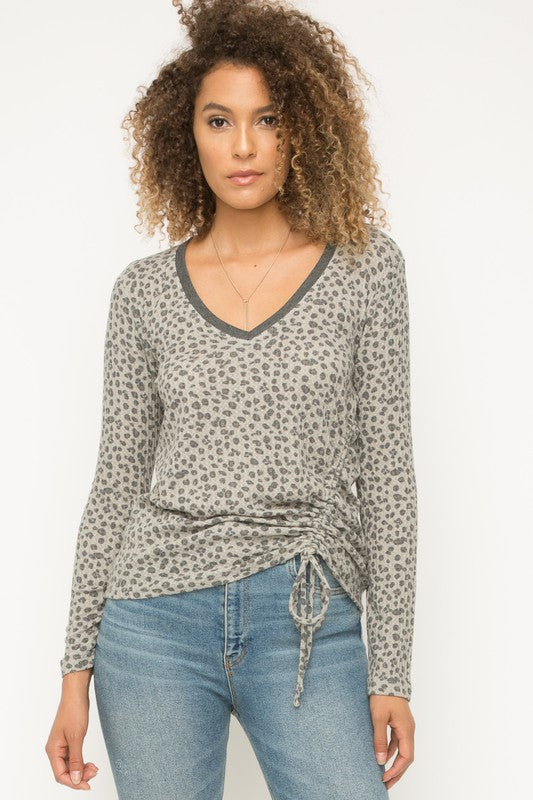 leopard ruched tie top
