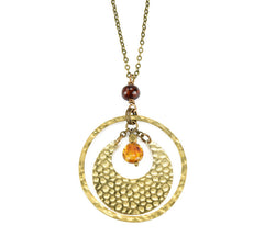 amber crescent circle long necklace