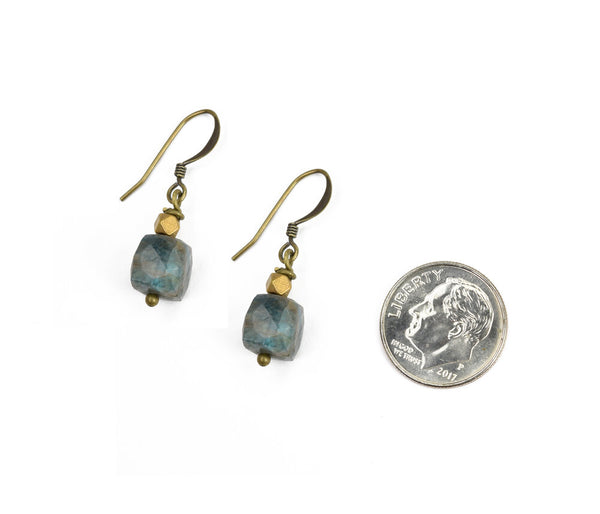 apatite cube earring