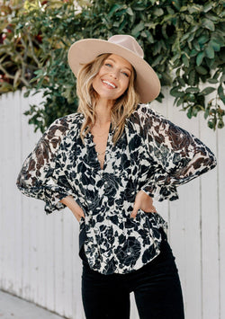 spring fever button front blouse