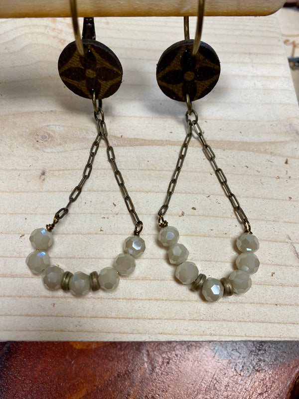 upcycled chain crystal earrings