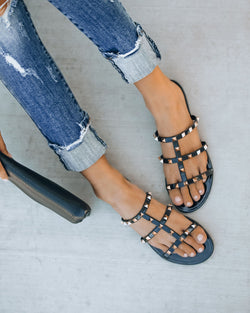 gold studded sandal - black