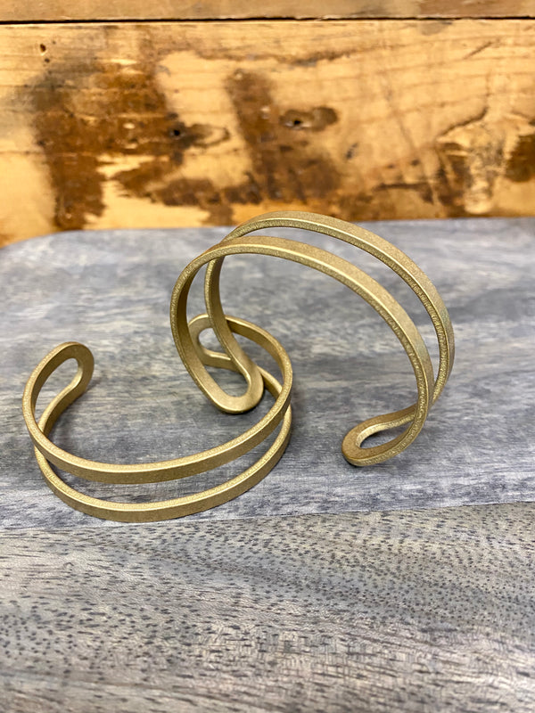 double bands brass bracelet