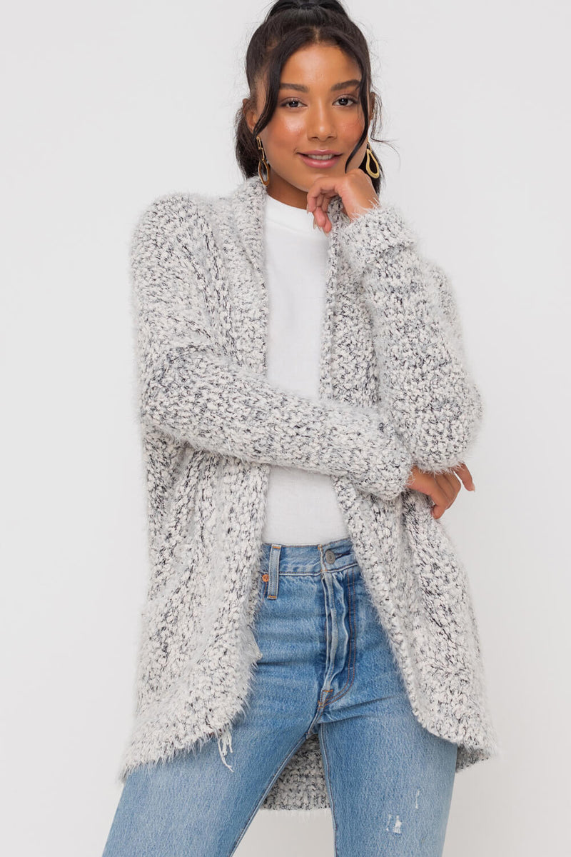 popcorn ribbed cardigan