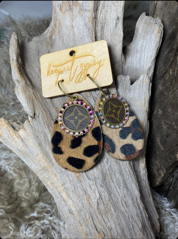 leopard upcycled earrings