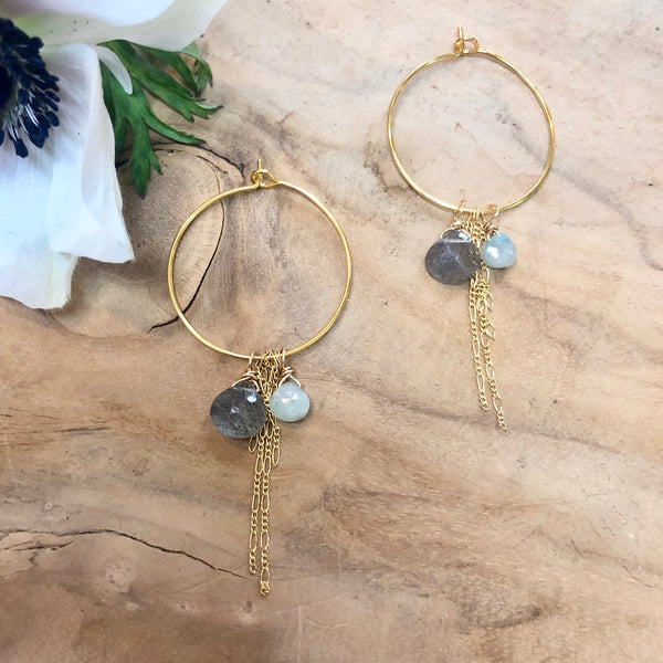 riley earrings - labradorite