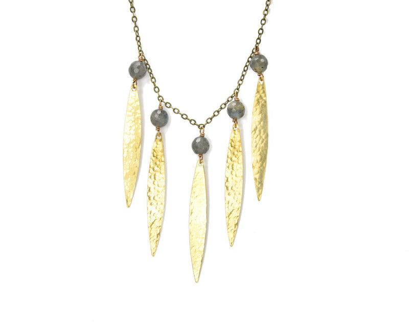 labradorite petal necklace