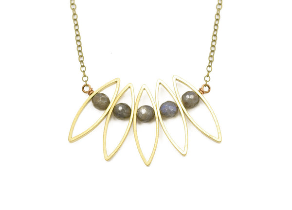 labradorite petal outline necklace