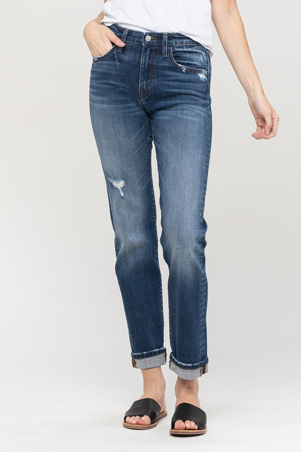 cuffed stretch boyfriend denim