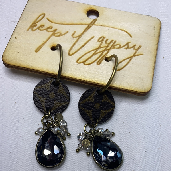 upcycled black teardrop earrings