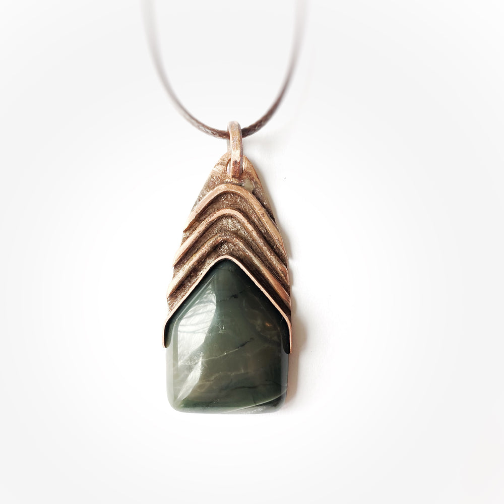 Pendant #7 Green/grey Stone with Crystal band