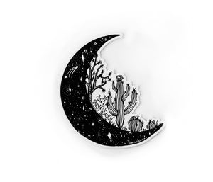 "Load image into Gallery viewer, Desert cactus Moon 4"" sticker"