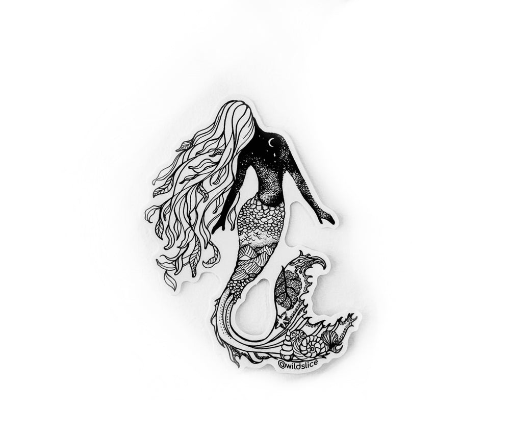 "Load image into Gallery viewer, Mermaid 4"" sticker B&W or Colorized"