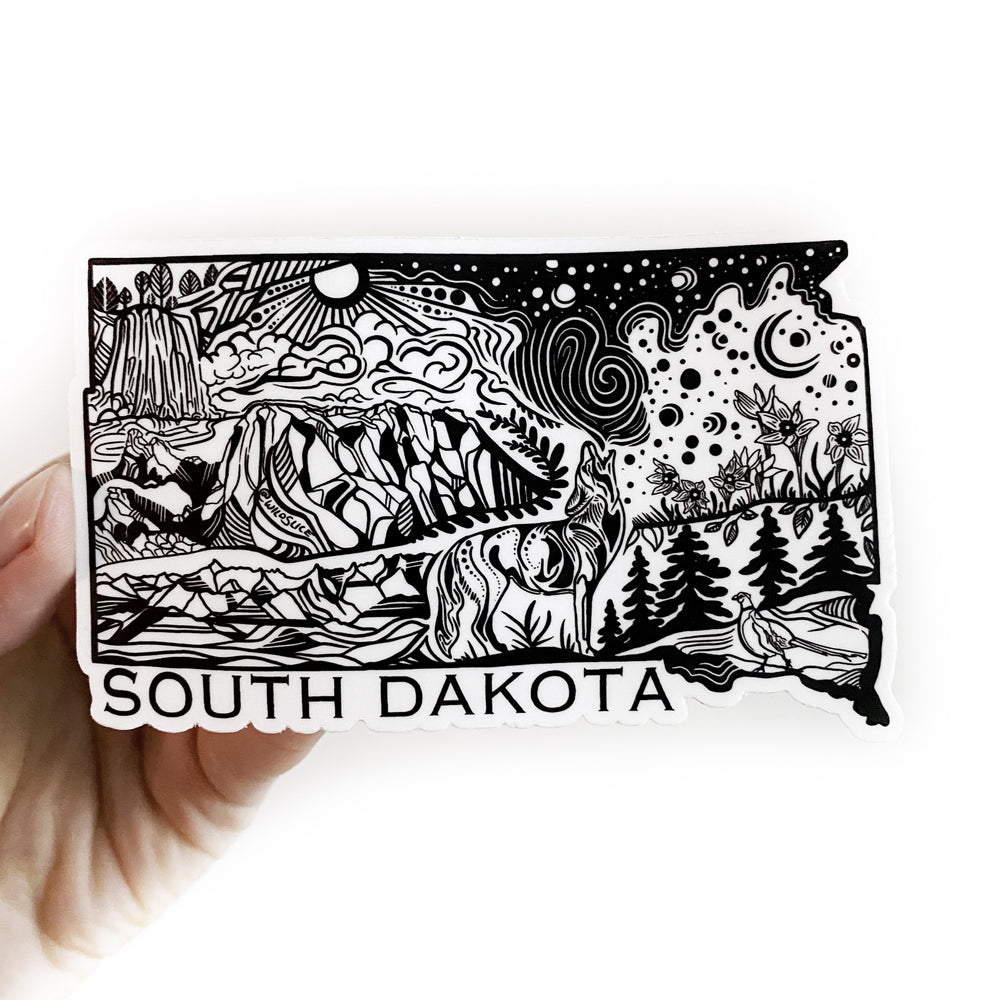 "South Dakota USA State 4"" vinyl sticker"