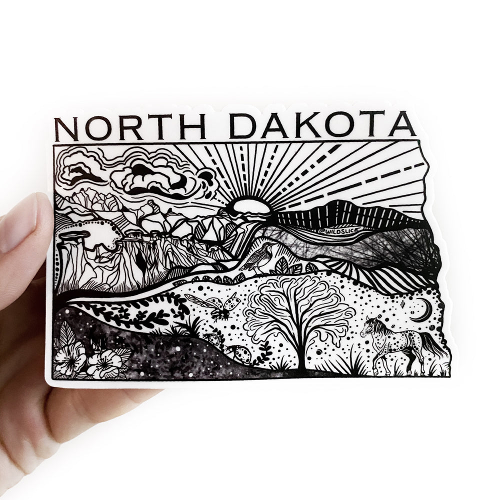 "North Dakota USA State 4"" vinyl sticker"