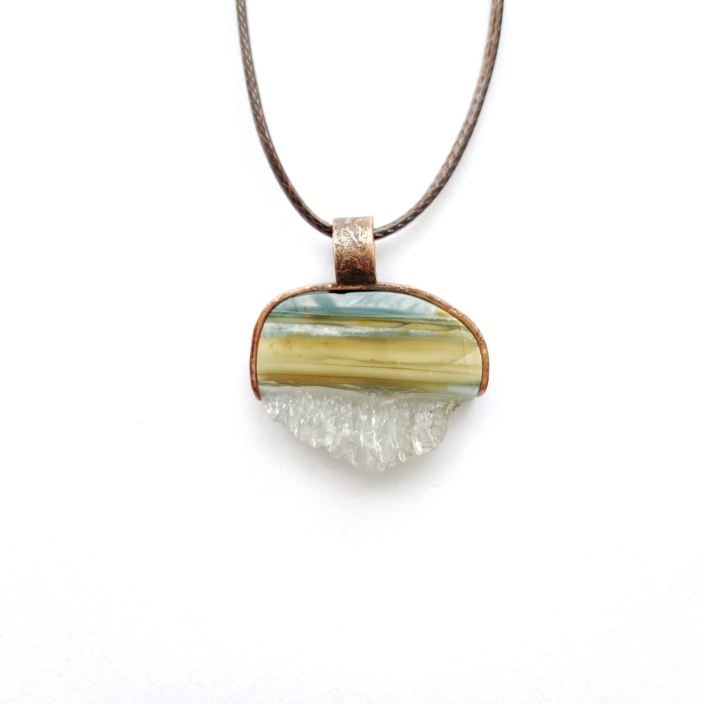 Jasper and Crystal Copper Pendant free shipping