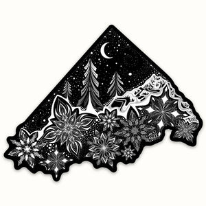 "Winter Wonderland 4""  Weatherproof and durable, Winter sticker,Skiing , Travel, Adventure, Moon and stars, snowboarding snowflakes"