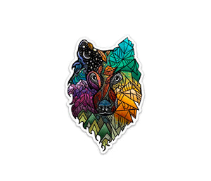 "Color Wolf Prism Sticker 4 "" Weatherproof and durable, Outdoor sticker, Travel sticker, Wanderlust, Mountains, Moon , Trees"